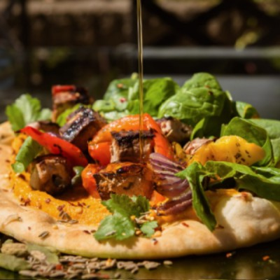 Chicken Tikka & Roasted Vegetable Topped Naan