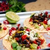 Mexican Smokey Tacos with black beans, smashed avo & feta