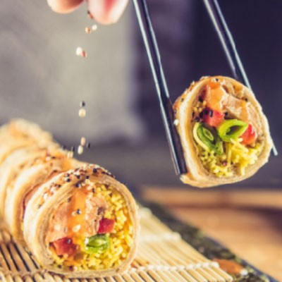 Salmon & Noodle Tortilla 'Sushi' Rolls
