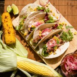 Spicy Pulled Pork, Roast Corn & Quick Pickled Onion Tacos