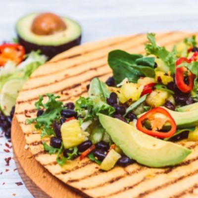 Spicy Jerk Black Beans With Avocado & Pineapple Salsa